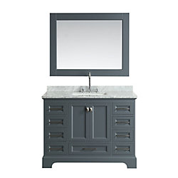 Design Element Omega 48 inch Single Vanity in Gray with Matching Mirror