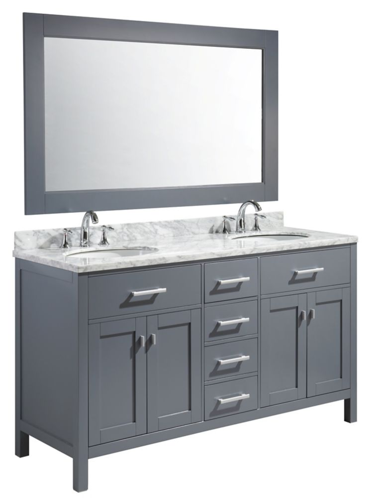 Design Element London Stanmark 61 inch Double Vanity in Gray with Matching Mirror