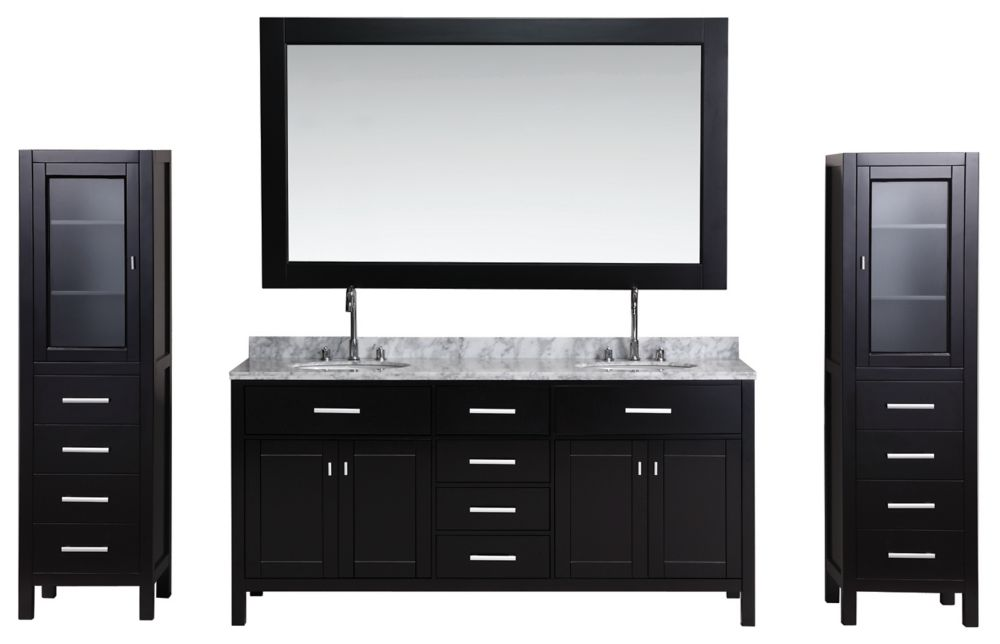 Design Element London 72 inch Double Vanity and Two Linen Cabinets in Espresso with Matching Mirror