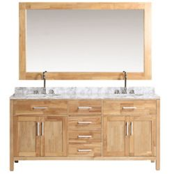 Design Element London Stanmark 72 inch Double Vanity in Oak with Matching Mirror