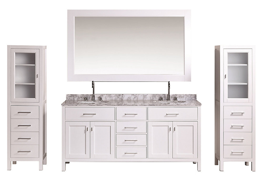 Design Element London 72 inch Double Vanity and Two Linen ...