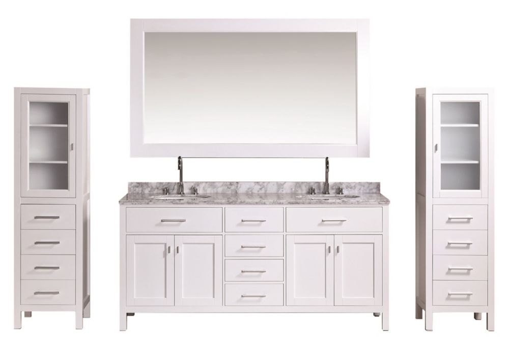 Design Element London 72 inch Double Vanity and Two Linen Cabinets in White with Matching Mirror