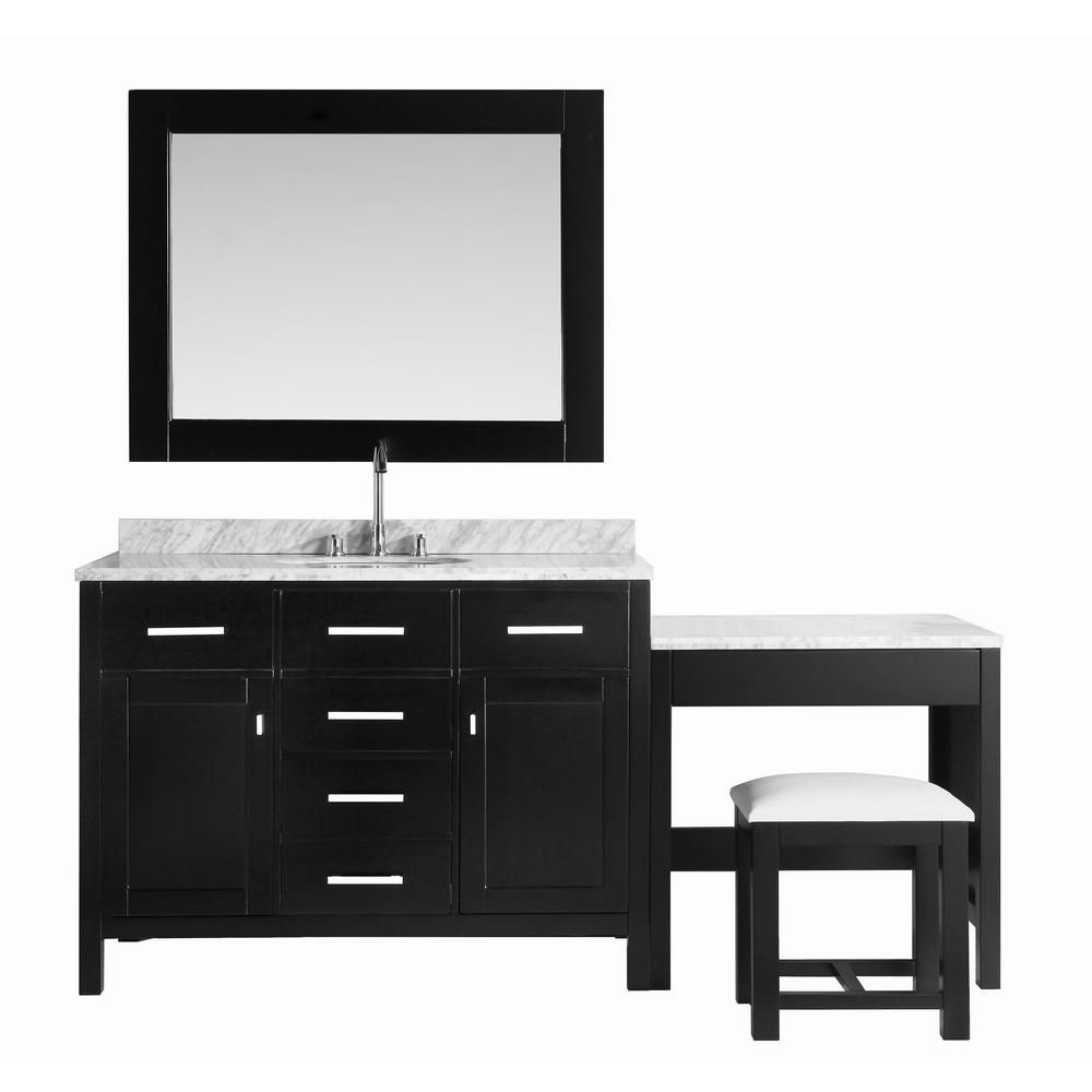 Design Element London Stanmark 48 inch Single Vanity and Make-Up Table in Espresso with Matching Mirror