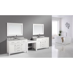 Design Element Two London Stanmark 48 inch Single Vanities and Make-Up Table in White with Matching Mirror