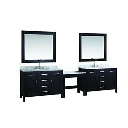 Design Element Two London Stanmark 48 inch Single Vanities and Make-Up Table in Espresso with Matching Mirror