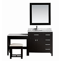 Design Element London 36 inch Single Vanity and Make-Up Table in Espresso with Matching Mirror