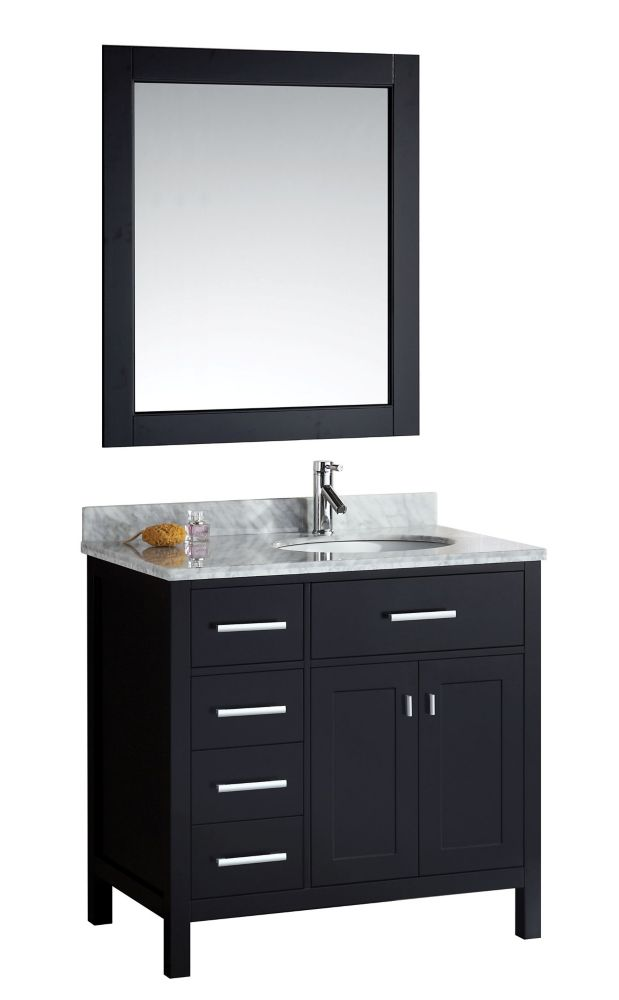 Design Element London Stanmark DEC076D-L 36 inch Single Vanity in Espresso with Matching Mirror