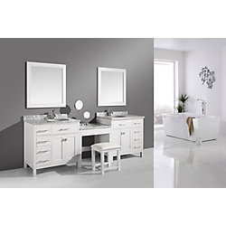 Design Element Two London Stanmark 36 inch Single Vanities and Make-Up Table in White with Matching Mirror