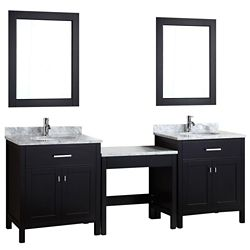 Design Element Two London 30 inch Single Vanities and Make-Up Table in Espresso with Matching Mirror