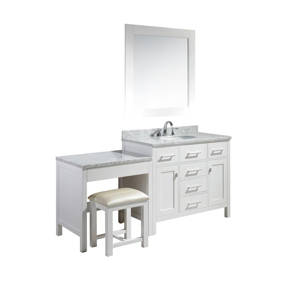 Design Element London 42 inch Single Vanity and Make-Up Table in White with Matching Mirror