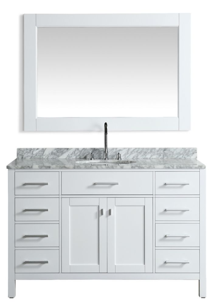 54 Inch Single Sink Bathroom Vanity In Antique White: Design Element London Stanmark 54 Inch Single Vanity In