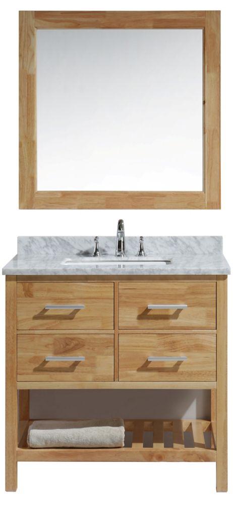 Design Element London Cambridge 36 inch Single Vanity in Oak with Matching Mirror