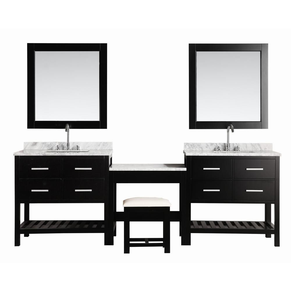 Design Element Two London Cambridge 36 inch Single Vanities and Make-Up Table in Espresso with Matching Mirror