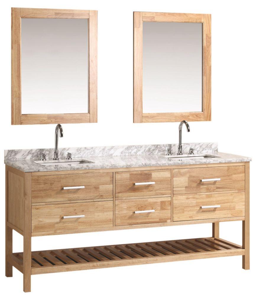 Design Element London Cambridge 72 inch Double Vanity in Oak with Matching Mirror