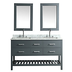 Design Element London Cambridge 61 inch Double Vanity in Gray with Matching Mirror