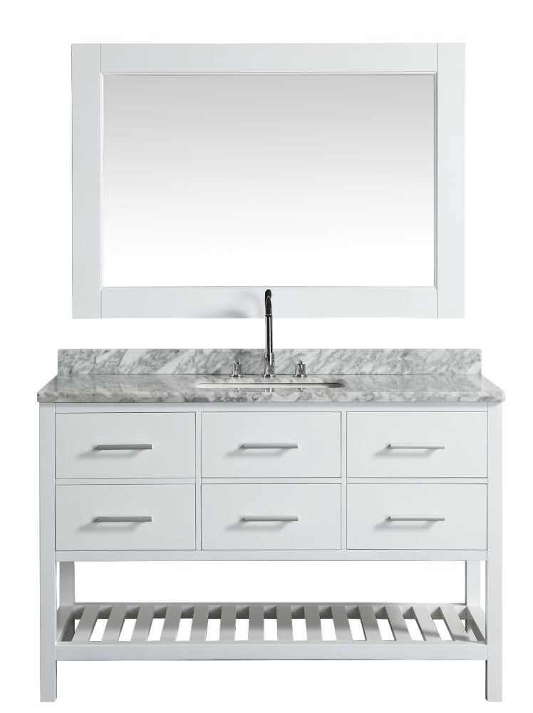 Design Element London Cambridge 54 inch Single Vanity in White with Matching Mirror