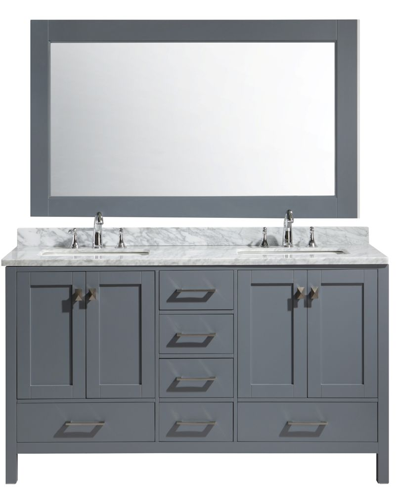 Design Element London Hyde 61 inch Double Vanity in Gray with Matching Mirror