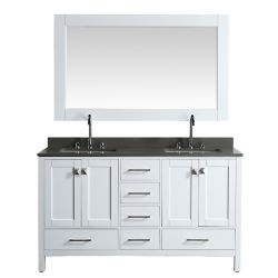 Design Element London Hyde DEC082A-W-GT 61 inch Double Vanity in White with Matching Mirror