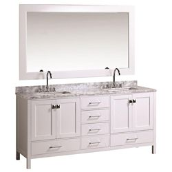 Design Element London Hyde 72 inch Double Vanity in White with Matching Mirror