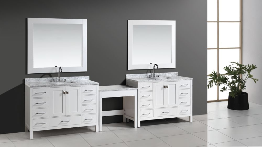 Design Element Two London Hyde 48 inch Single Vanities and Make-Up Table in White with Matching Mirror