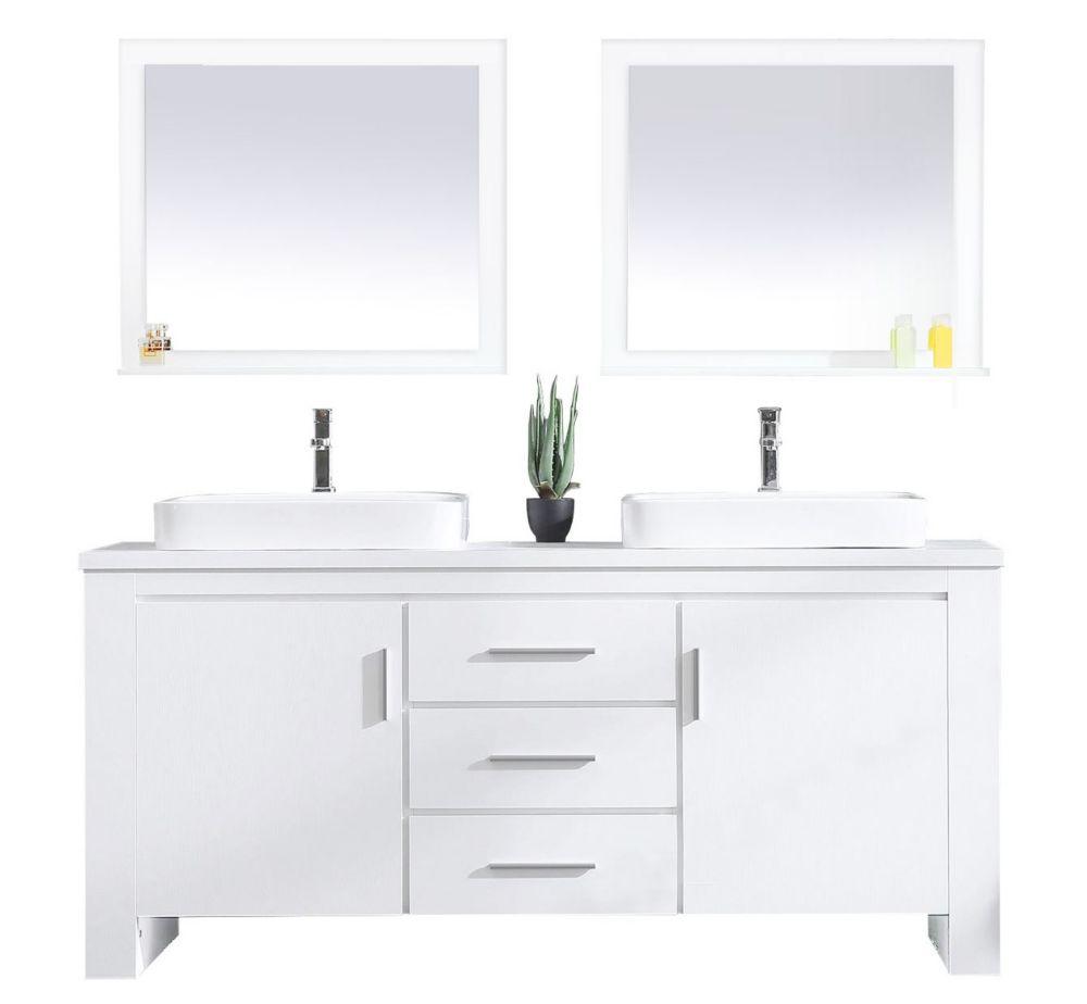 Design Element Washington 72 inch Double Vanity in White ...