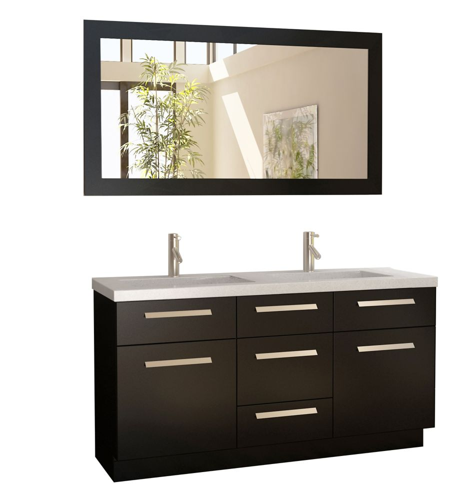 Design Element Moscony 60 inch Double Vanity in Espresso with Matching Mirror