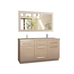Design Element Moscony 60 inch Double Vanity in White with Matching Mirror