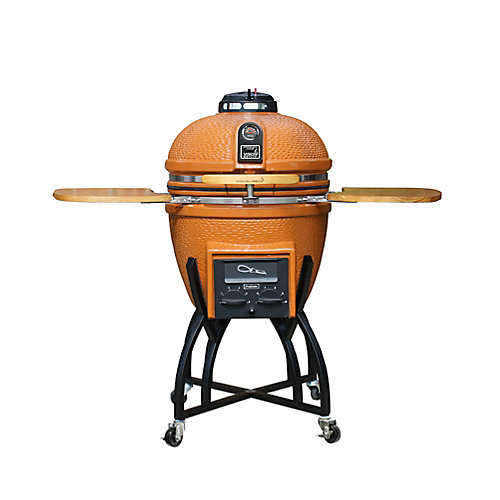 Kamado Professional Ceramic Charcoal BBQ in Orange with BBQ Cover