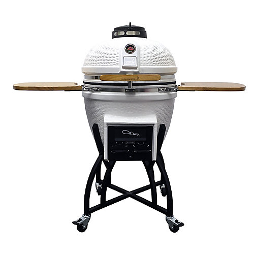 Kamado Professional Ceramic Charcoal BBQ in White with BBQ Cover