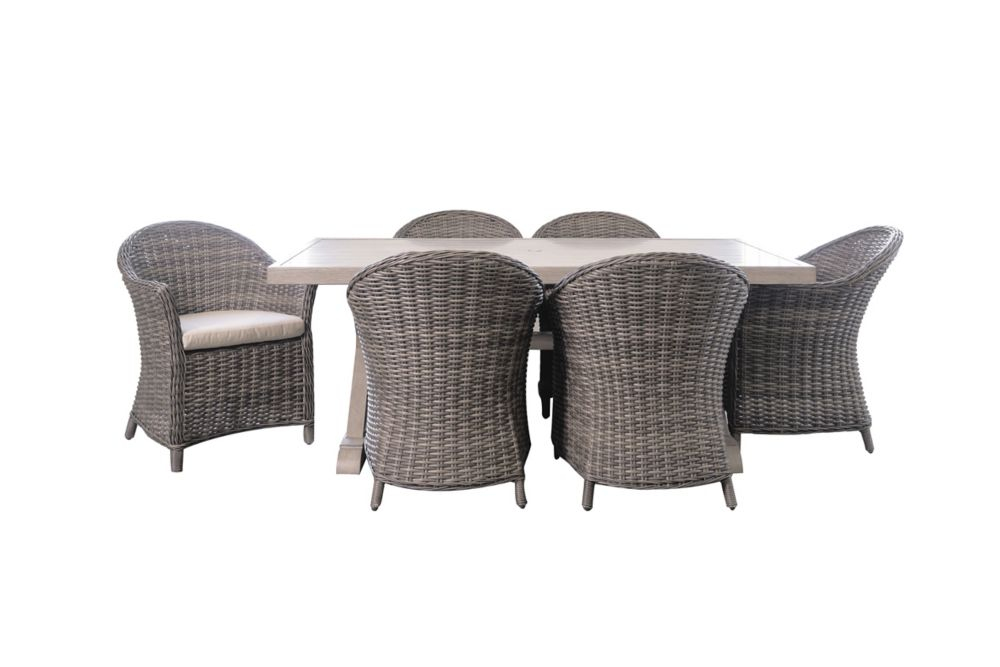Patio Plus Cabana Charcoal Grey 7-Piece Rectangular Dining Set with Beige Seat Pads
