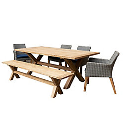Patio Plus Indo 6-Piece Rectangular Dining Set with Dining Chairs & Bench