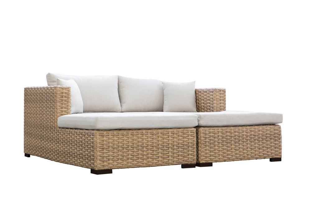 Patio Plus Cabana Tan Double Chaise Lounge Daybed, Beige Cushions