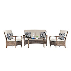Delaronde 4-Piece Wicker Patio Chat Set in Light Brown with Tan Cushions