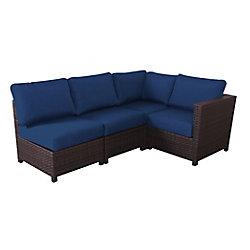 Salon de jardin avec coussins bleu marine Delaronde, osier, brun foncé, 4 pièces