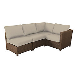 Delaronde 4-Piece Wicker Patio Sectional in Light Brown with Tan Cushions