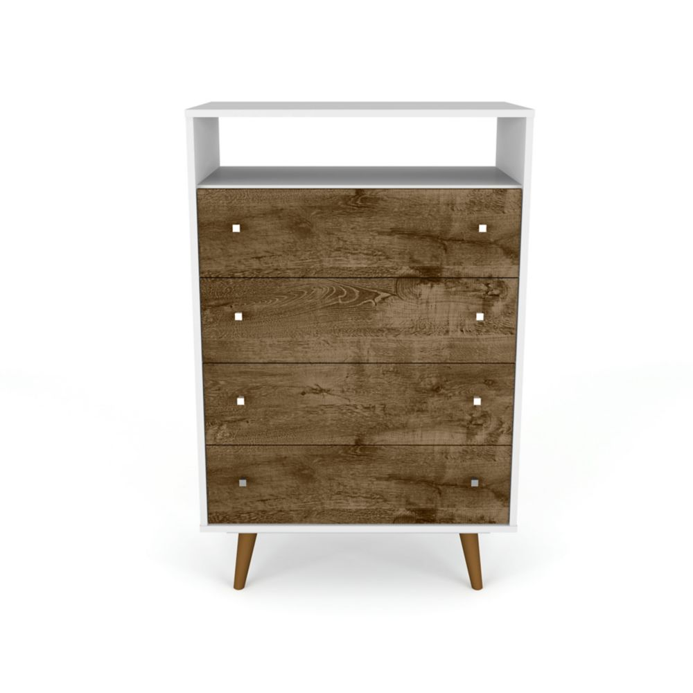 Manhattan Comfort Liberty Dresser in White and Rustic Brown
