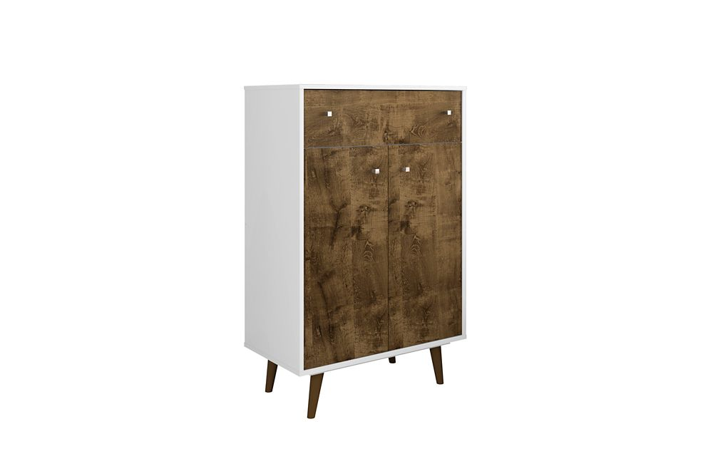 Manhattan Comfort Liberty Storage Cabinet in White and Rustic Brown