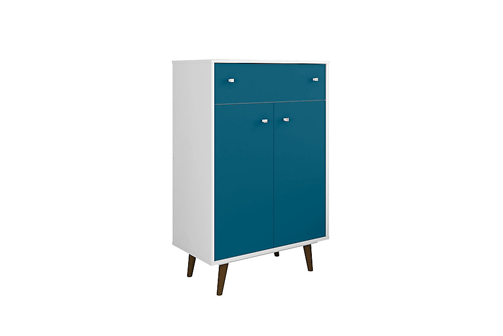 Liberty Storage Cabinet in White and Aqua Blue