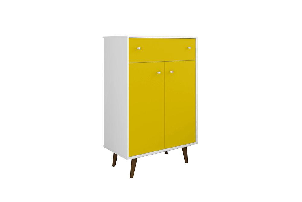Manhattan Comfort Liberty Storage Cabinet in White and Yellow