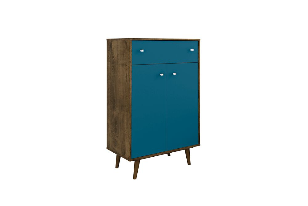 Manhattan Comfort Liberty Storage Cabinet in Rustic Brown and Aqua Blue