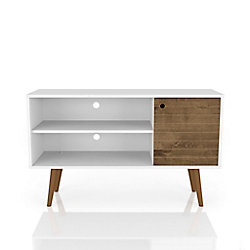 Manhattan Comfort Liberty TV Stand 42.52 in White and Rustic Brown