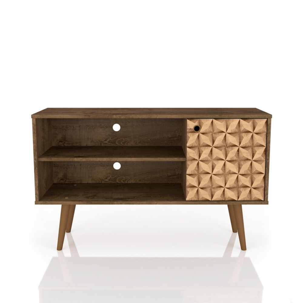 Manhattan Comfort Liberty TV Stand 42.52 in Rustic Brown and 3D Brown Prints