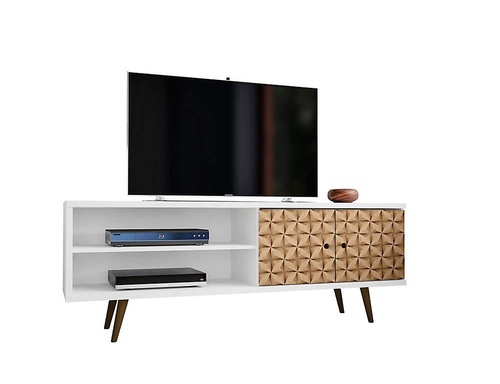Liberty TV Stand 62.99 in White and 3D Brown Prints