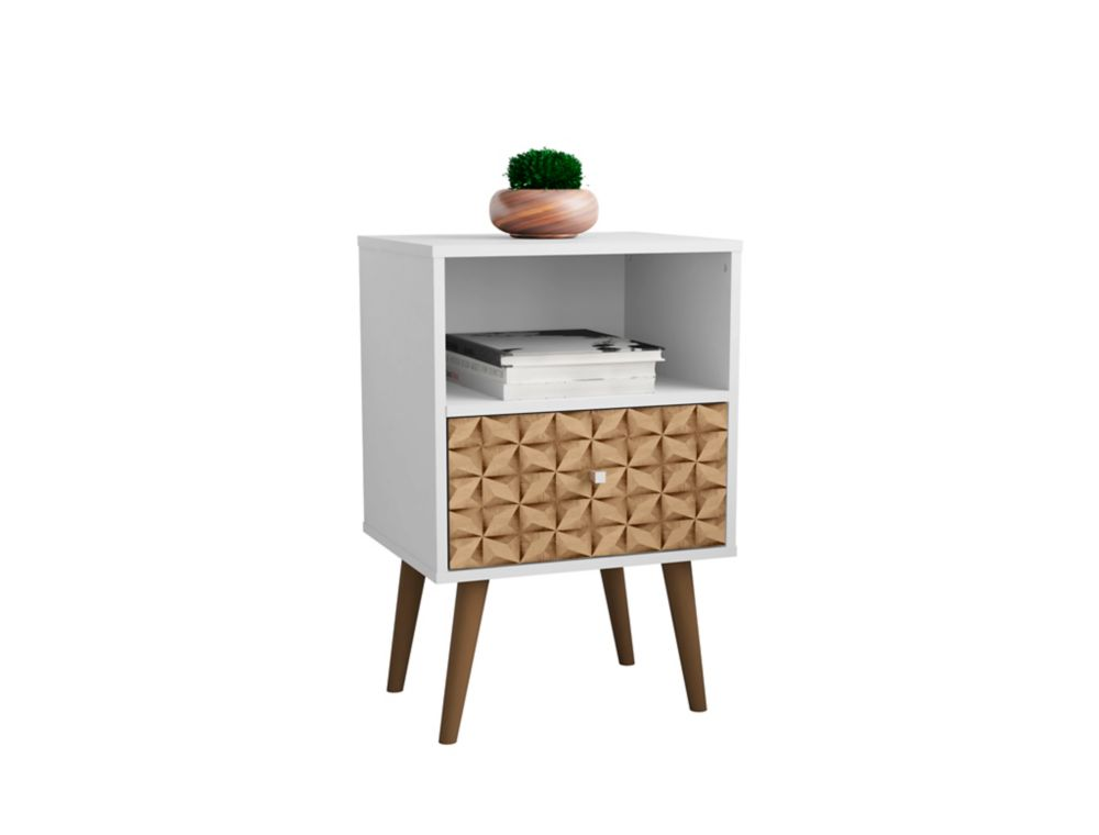Manhattan Comfort Liberty Nightstand 1.0 in White and 3D Brown Prints