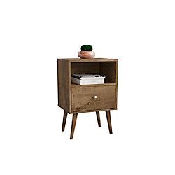 Manhattan Comfort Liberty Nightstand 1.0 in Rustic Brown