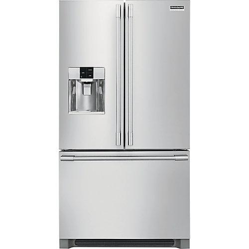 Réfrigérateur à porte française de 36 po W 21,6 pi. cu. en acier inoxydable, profondeur du comptoir