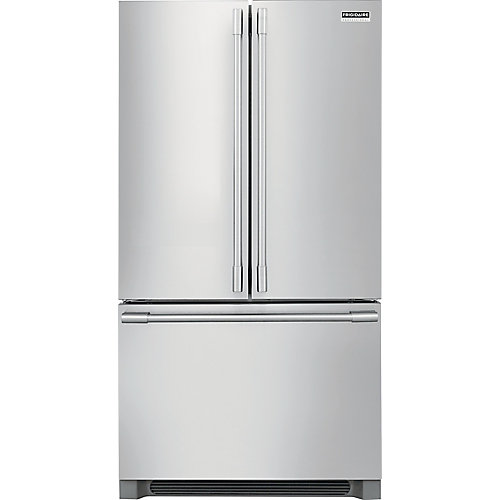 Réfrigérateur à porte française de 36 po W 22,3 pi3 en acier inoxydable, profondeur du comptoir