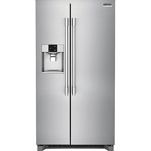 Réfrigérateur de 36 po W 22 pi. cu. côte à côte en acier inoxydable, profondeur du comptoir