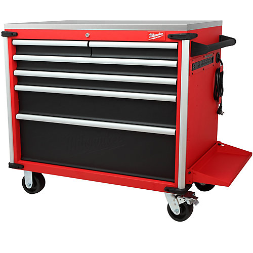 40-inch 6-Drawer Mobile Work Station with Solid Wood Top