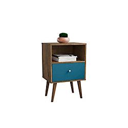 Manhattan Comfort Table de nuit Liberty 1.0 en brun rustique et bleu aqua